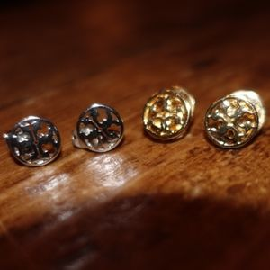 Tory Burch Circle Logo Stud Earrings Set